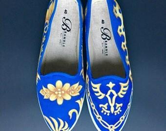 Hand Painted Canvas Shoes size US 9.5-10/ EU 40 Blue Indigo Gold Motif