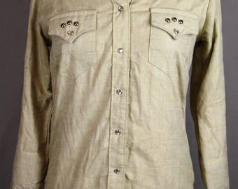 Rockmount Ranch Wear Women's Vintage Western Rodeo Studded Snap Button Shirt Size 32 / Small
