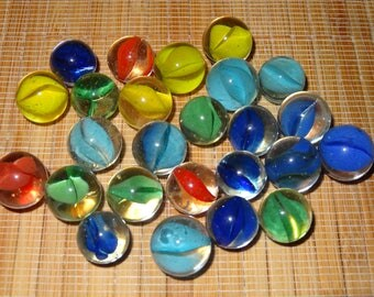 Lot of 25 Vintage Cats-Eye Marbles / Craft Supplies / Jewelry Supplies / Game Marbles / Toy Marbles / Glass Marbles / Cat's-Eye Marbles