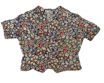Vintage 30s Black Red Blue Floral Heart Print Paneled Ruched Blouse Top Small LABOR DAY SALE