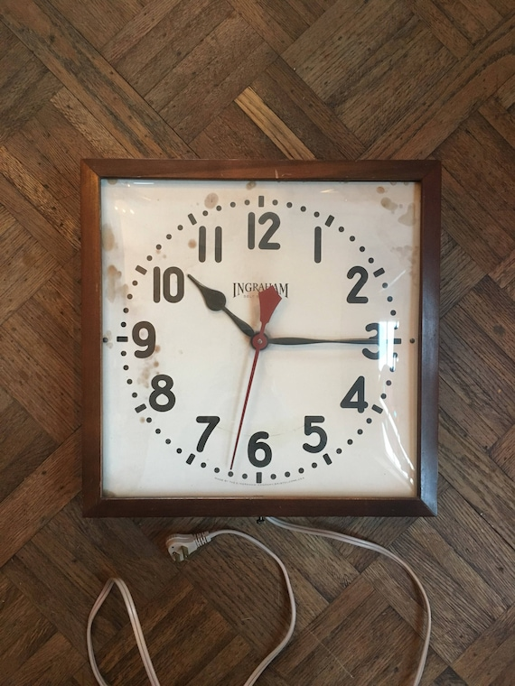 Vintage Ingraham Wall Clock, Electric Clock, School Clock, Office Wall Clock, Kitchen Clock