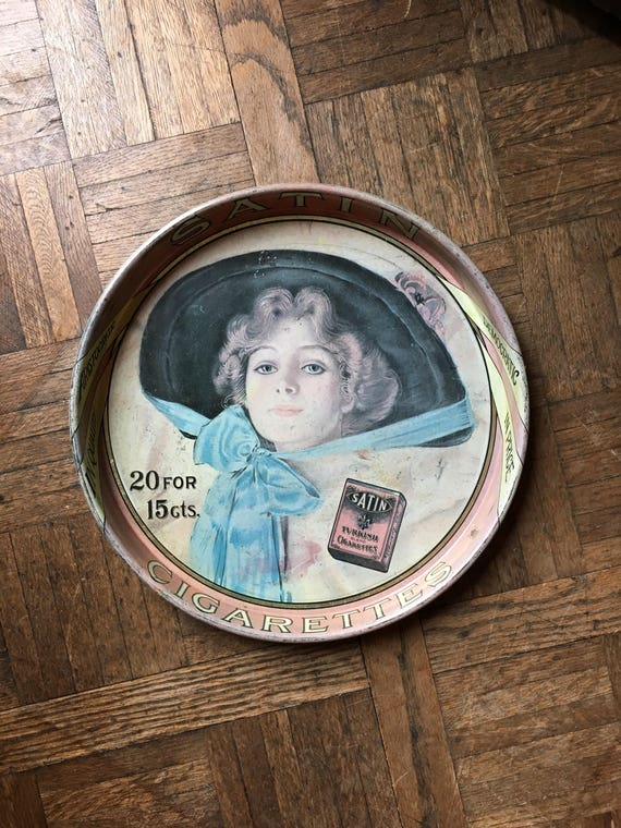 Antique Cigarette Advertising Tray, Satin Turkish Blend Cigarette Bar Tray, Metal Drink Tray, Bar Decor