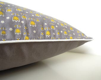 "Cushion cover "" Little small yellow flowers, grey cotton and white piping """