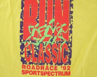 Vintage 1992 Yellow Road Classic Road Race Retro Bright Mens T-Shirt Size XL
