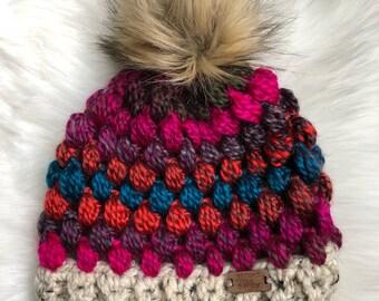 Adult fur pom hat