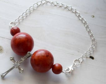 Sterling Silver Chain Bracelet With Cross Pendant and Crimson Beads