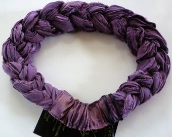 A rich and subtle Sari Silk Braided Headband in deep mauve tones; beautiful for all seasons!
