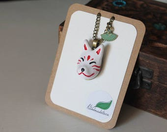 Fox necklace, kitsune, Japanese mask, fan, polymer clay, copper color aged