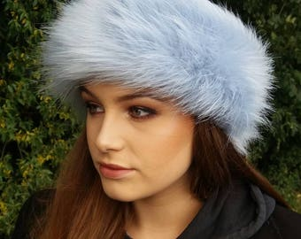 Ice Blue Faux Fur Headband / Neckwarmer / Earwarmer Handmade in Lancashire England