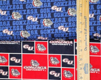 NCAA Gonzaga University Bulldogs Red & Navy College Logo Cotton Fabric by Sykel! [Choose Your Cut Size]