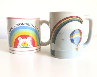 Vintage Rainbow Mug / Vintage Otagiri Rainbow and Hot Air Balloon Mug / Have a Wonderful Day Mug / Vintage Coffee Cup / Gold Details