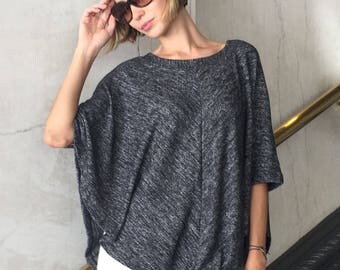 Kimono Top One Size Symmetric Poncho / Womens Spring Clothing / Black & White Poncho Sweater / Lightweight and Soft Feel Poncho