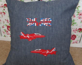 """20"""" x 20"""" Red Arrows machine embroidery design Cushion Cover in denim with envelope back"""