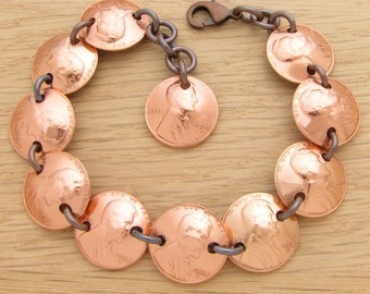 For 50th: 1968 US Penny Bracelet 50th Birthday or 50th Anniversary Gift Coin Jewelry