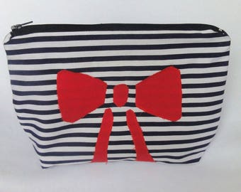 Red bow and Navy striped clutch