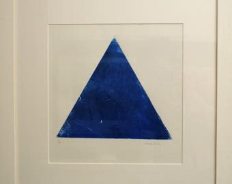 Triangle woodcut collograph print in blue
