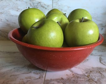 Vintage Red Graniteware Bowl (10 inch)