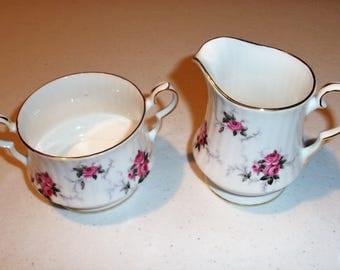 Princess House Windsor Rose Creamer & Sugar Bowl