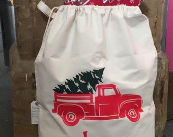 Personalised Santa Sack Vintage Truck & Christmas Tree