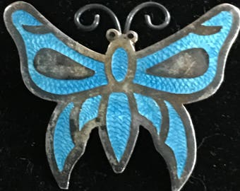 Sterling enamel Mexico butterfly pin,brooch marked and bell mark,JF,1940s