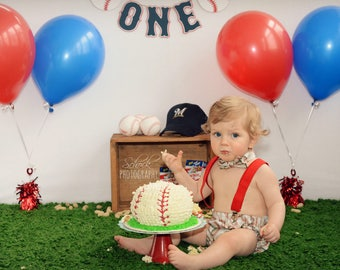 BASEBALL Sports Photo Prop 1st Birthday Set Diaper Cover Bow Tie Suspenders Cake Smash Set