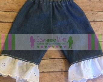 Girls Newborn Blue Jean Eyelet Lace Ruffle Pants