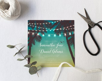 DIY Printable Beach Tropical Style Invitation Palm Trees, Sunset, Fairy Lights | Details | RSVP | Save the Date + More Available on Request