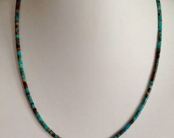 """Native American Kingman Boulder Turquoise Heishi Sterling Silver Necklace 20.5"""" Perfect4Pendants"""