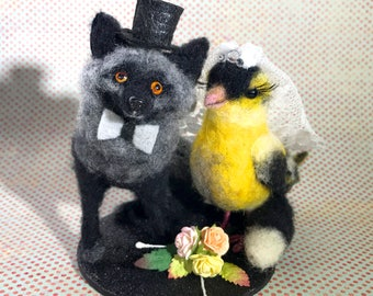 Custom Felted Animal Wedding Cake Toppers