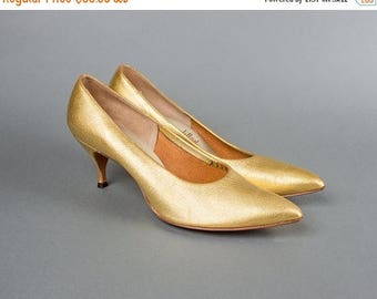20% OFF SALE Vintage 1950s Shoes | 50s Metallic Gold Leather High Heel Stiletto Pumps (womens 9 9.5)