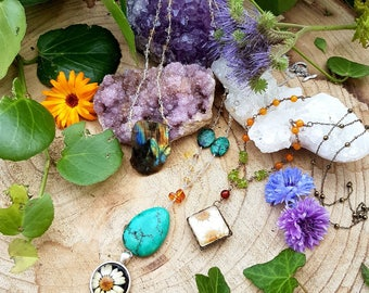 Nature Sparkle - OOAK crystal necklaces