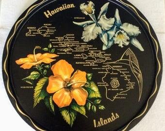 Hawaiian Islands Metalware Souvenir Drink Tray