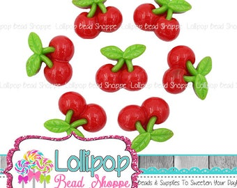 Red Cherry Cabochons, Maraschino Cherries, Fruit Resin Flat Back, 21mm x 20mm, No Hole, Food Decoden, DIY Cell Phone Case, Pkg of 5 or 10