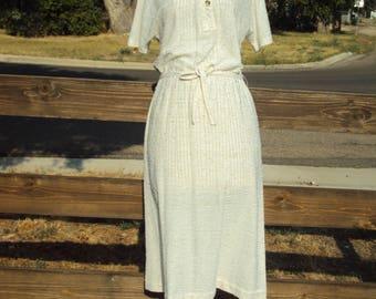 1970s Womens Oatmeal/Tan Butte Knit Day Dress Size Medium/ 70s Secretary Dress/ Belted Butte Knit Dress/ Midi Butte Knit Dress/Textured Knit
