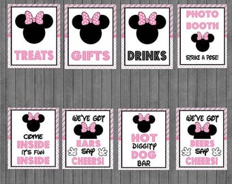 FLASH SALE Minnie Mouse Birthday Sign Package,  Pink