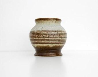 Vintage Vase // Strehla Ceramic Vase, Planter // Blue and Brown Striped Pattern