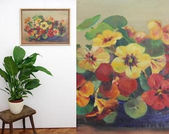 Vintage painting // 1940's 56cmx41cm framed still life oil painting // Signed still life // Floral still life canvas
