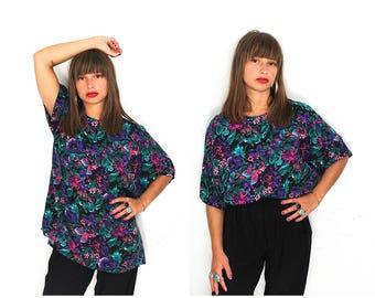 90s Tropical Floral Shirt - Vintage 90s Floral Print Oversized Blouse - 90s Tropical Flower Print Rayon Hawaiian Shirt