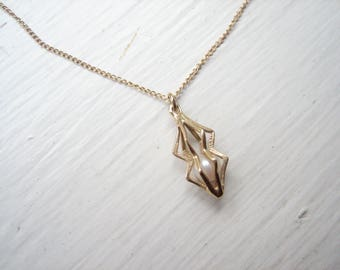 Vintage 10k gold caged pearl pendant necklace
