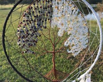 "Bipolar Tree of life Dream Catcher/ Sun Catcher moonstone labradorite garnet citrine aquamarine lapis... 32"""