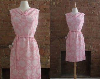December Sale 1960s R&K Originals pink floral dress | 50's 60s Mid Century Old Hollywood Bombshell