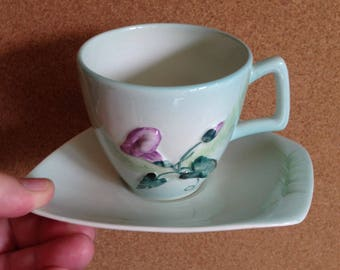 Vintage Carltonware Carlton ware scarce cup and saucer, Convolvulous MORNING GLORY green Australian design