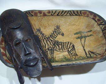 African Wood Mask,Hand Carved and Stained Solid Wood,African Carved Zambian,Hand Carved Tribal,Kenya