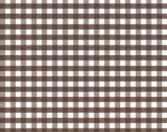 Brown Gingham by Riley Blake Designs, neutral fabric, brown fabric, squares, fabric by the yard, fabric, gingham, checks