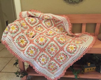 Pink Daisy Flower Crocheted Baby Blanket