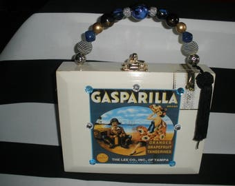 Gasparilla Cigar Box Purse, Pirate, Flamenco Dancer, Authentic, Lined, Tampa