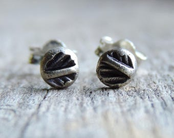 Forged Sterling Silver Stud Earrings | 4mm Palm Leaf | Post Style, Oxidized Patina // Ready to Ship