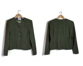 Olive green jacket / 90s boxy green jacket / 90s army green jacket / minimalist green jacket / 1990s cropped jacket / english country jacket