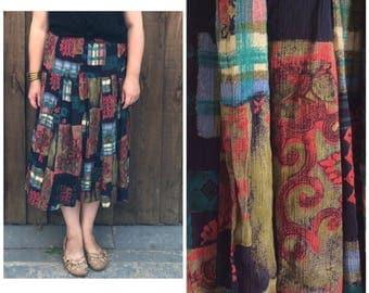 SALE Boho 90s skirt // long crinkly skirt // hippie 90s skirt // maxi skirt // 90s summer skirt // elastcated skirt