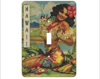 Metal Hawaii Light Switch Cover - Travel Poster Switch Covers - 1T Single Toggle - Single Gage Switch